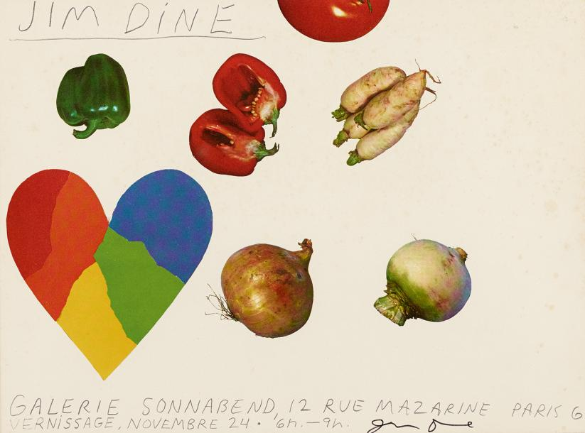 JIM DINE (NE EN 1935) VEGETABLES AND HEART, 1963 Carton d'invitation de la galerie…