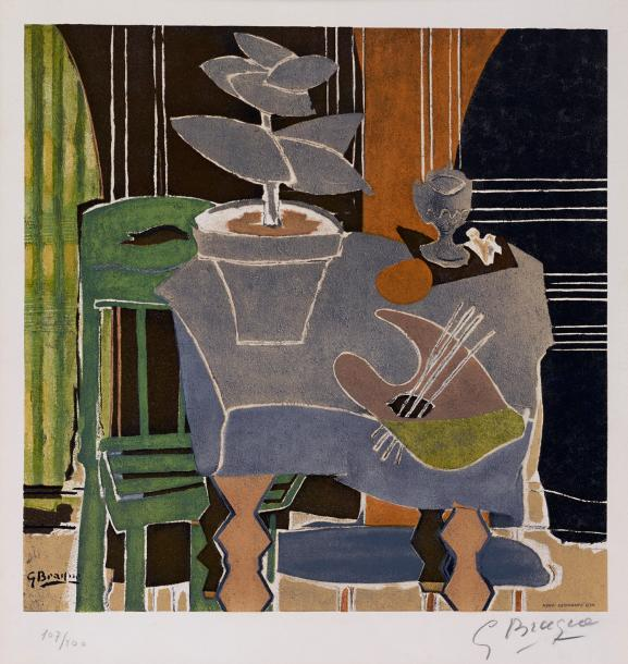 GEORGES BRAQUE D'APRES (1882-1963) NATURE MORTE A LA PALETTE, 1960 Lithographie d'interprétation…
