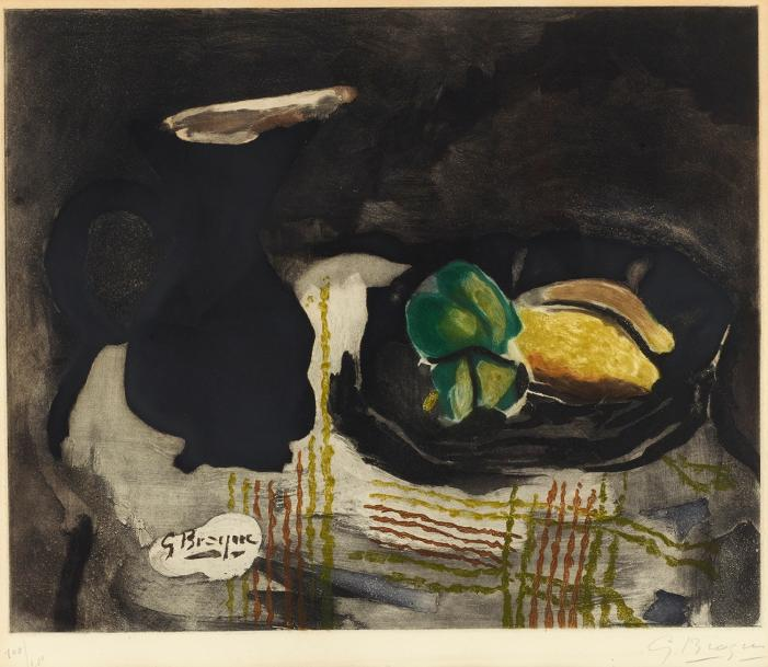 D'APRES GEORGES BRAQUE (1882-1963) NATURE MORTE AU PICHET NOIR ET CITRONS (Maeght,…