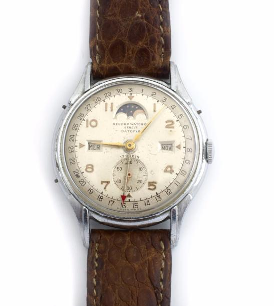 CO GENEVE DATOFIX MONTRE ACIER SIGNÉE RECORD WATCH CO GENEVE DATOFIX circa 1950.…