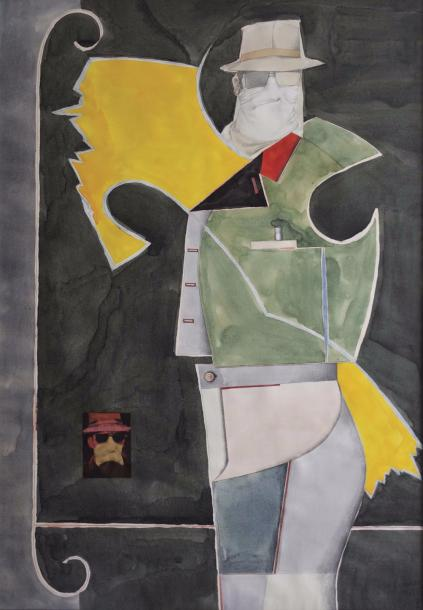 RICHARD LINDNER (1901-1978) * MASKED MAN, 1968 Aquarelle, crayon et collages sur…