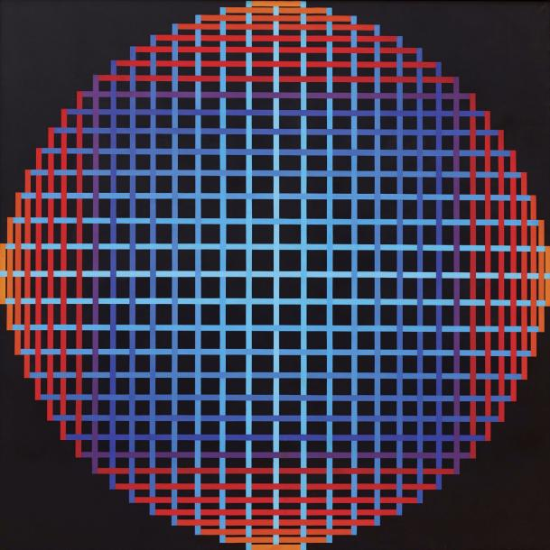 YVARAL (1934-2002) (JEAN-PIERRE VASARELY DIT) DIFFRACTION POLYCHROME BR, 1971 Acrylique…