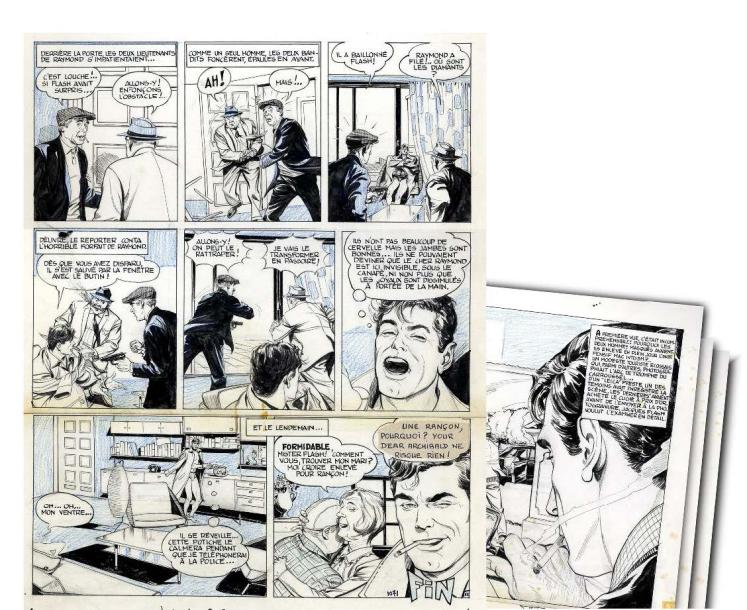 LE GUEN, PIERRE JACQUES FLASH Ensemble de 12 planches originales à l'encre de chine…