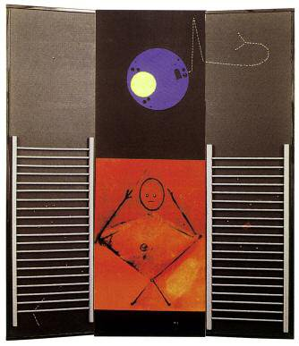 MAX ERNST (1891-1976) LE GRAND IGNORANT, 1974 Paravent en bois peint, collages et…