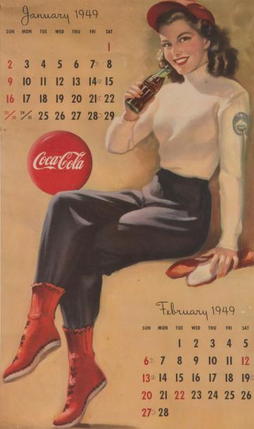1949 «Thirst knows no season». Calendrier imprimé en lithographie en couleurs en…