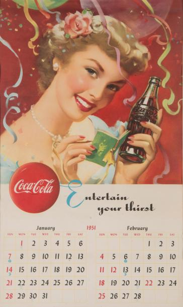 1951 «Entertain your thirst». Calendrier imprimé en lithographie en couleurs en…
