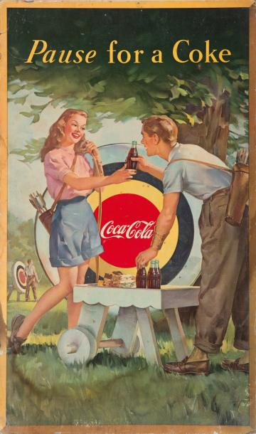 «Pause for a Coke». Imprimé sur carton illustré d'un couple de tireurs à l'arc devant…