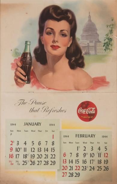 1944 «The pause that refreshes». Calendrier imprimé en lithographie en couleurs…
