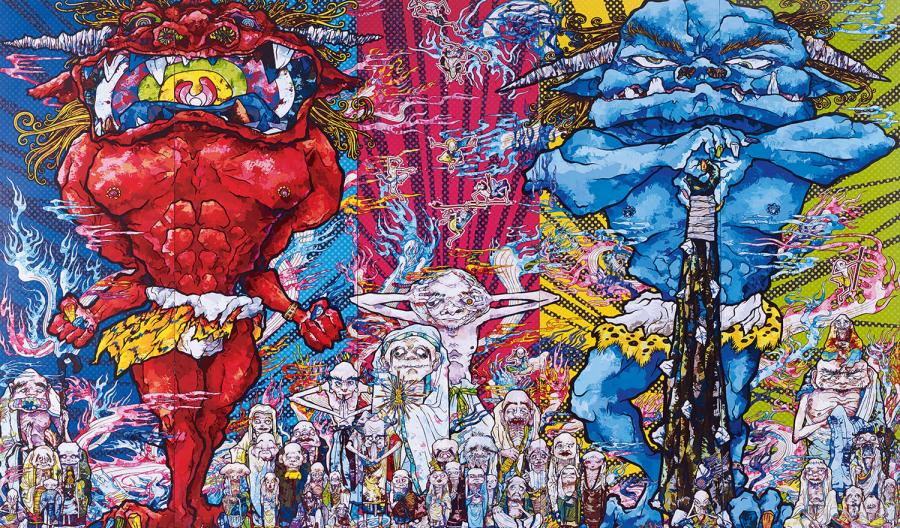 TAKASHI MURAKAMI (NE EN 1962) RED DEMON AND BLUE DEMON WITH 48 ARHATS, 2013 Offset…