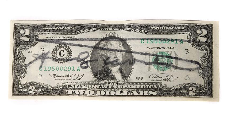 ANDY WARHOL (1928-1987) ONE DOLLAR BILL Encre sur billet de banque Signé 7 x 15,5…