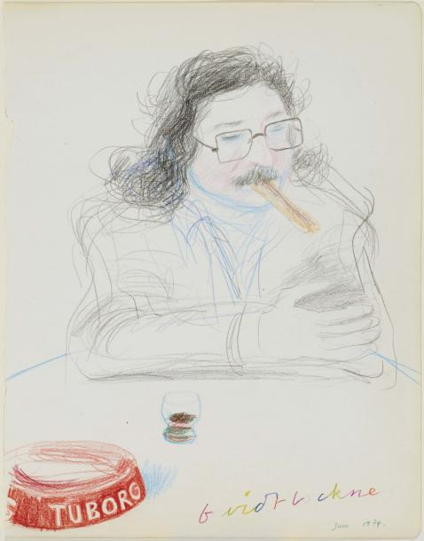 DAVID HOCKNEY (NE EN 1937) PIERRE RESTANY, 1974 Crayons de couleurs et mine de plomb…