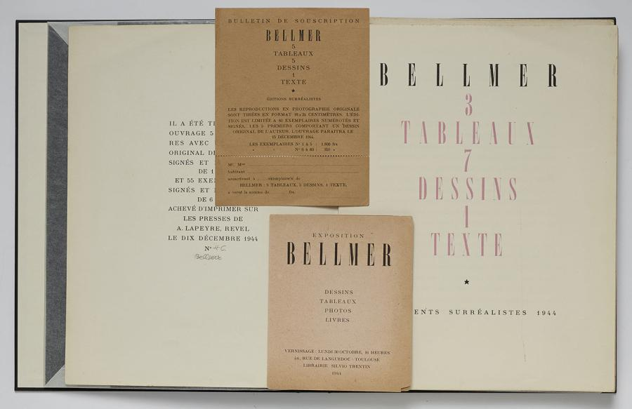 BELLMER Hans 3 tableaux 7 dessins 1 texte. Documents Surréalistes, 1944. In-8, en…