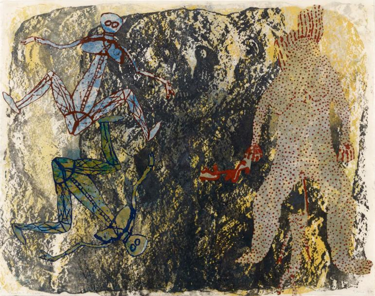 NANCY SPERO (1926-2009) SHEELA AND FIGURES, 1987 Encre, collage et gouache sur papier…