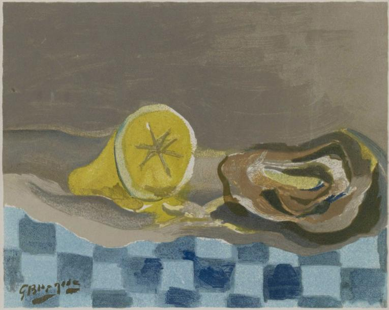 D'APRES GEORGES BRAQUE (1882-1963) NATURE MORTE AU CITRON Offset en couleurs sur…