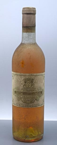 1 bouteille CH. COUTET, 1° cru Barsac 1967…