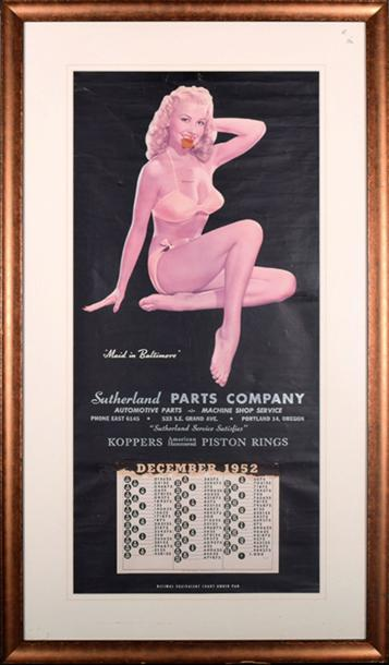 CALENDRIER PIN UP 1952 - MAID IN BALTIMORE Rare prototype de calendrier pour représentants…