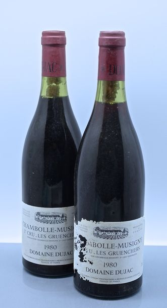 "2 bouteilles CHAMBOLLE-MUSIGNY ""Les Gruenchers"", Dujac 1980 (TLB, 1 ea)"