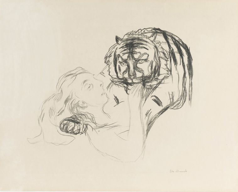 EDWARD MUNCH (1863-1944) LE TIGRE, 1908-1909 (Woll, 346; Schieffer, 316) Lithographie…