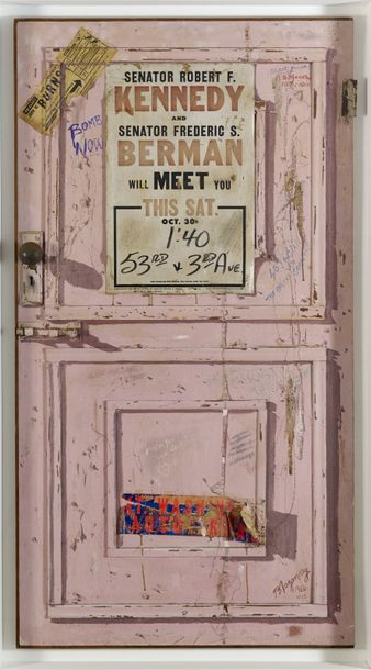 BURHAN DOGANCAY (1929-2013) * PINK DOOR, 1966 Technique mixte (huile, collage, crayon,…