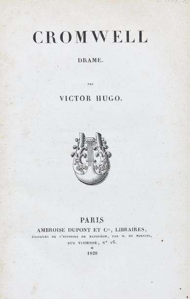 Victor HUGO Cromwell. Drame. Ambroise Dupont & Cie., 1828. In-8 demi-basane, dos…