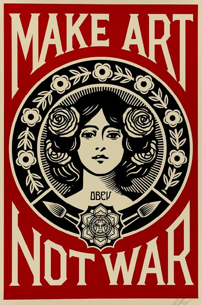 SHEPARD FAIREY (OBEY GIANT DIT) (NE EN 1970) MAKE ART NOT WAR, 2016 Sérigraphie en…
