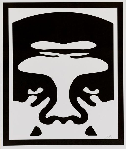 SHEPARD FAIREY (OBEY GIANT DIT) OBEY 3-FACE (WHITE), 2015 Trois impressions offset…