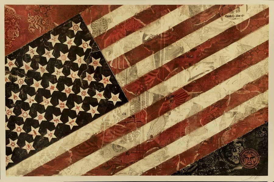 SHEPARD FAIREY (OBEY GIANT DIT) FLAG, 2011 Impression offset en couleurs Signée,…