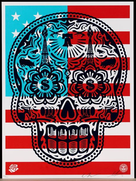 SHEPARD FAIREY (OBEY GIANT DIT) POWER & GLORY DAY OF THE DEAD SKULL, 2016 Sérigraphie…