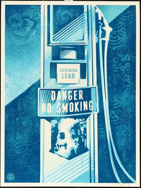 SHEPARD FAIREY (OBEY GIANT DIT) DANGER NO SMOCKING, 2016 Sérigraphie offset en couleurs…