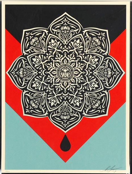 SHEPARD FAIREY (OBEY GIANT DIT) (NE EN 1970) BLOOD & OIL MANDALA (OIL DROP), 2017…