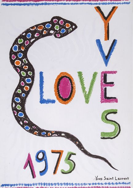 2. YVES SAINT LAURENT Affiche Love, 1975 Impression couleur sur papier Tirage …