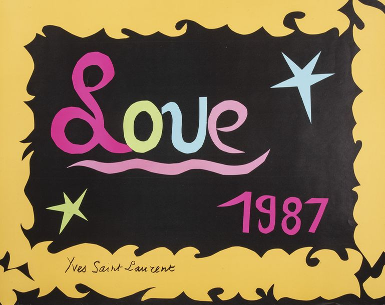 34. YVES SAINT LAURENT Affiche Love, 1987 Impression couleur sur papier Tirage …
