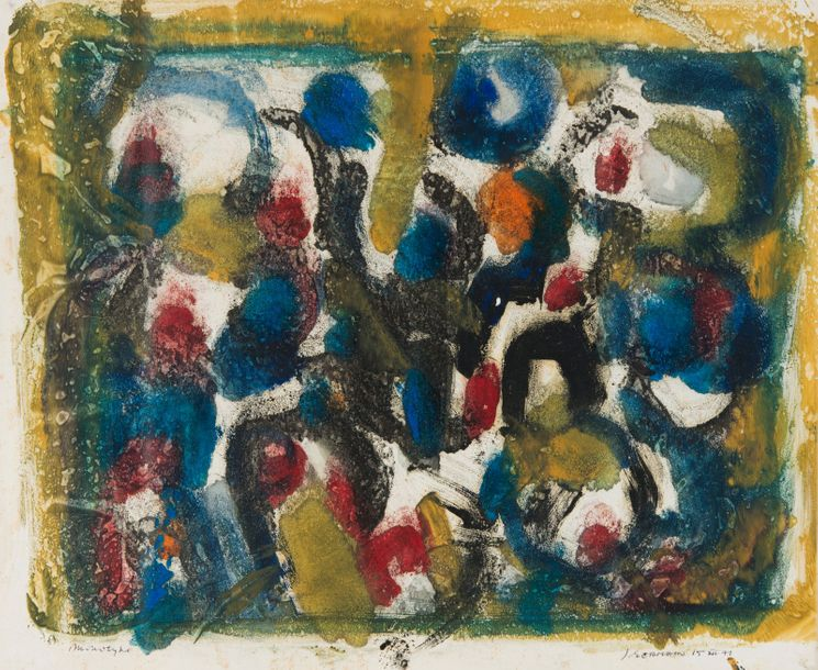 JACQUES GERMAIN (1915-2001) COMPOSITION, 1971 Monotype à l'huile en couleur sur papier…