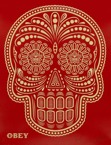 SHEPARD FAIREY 'OBEY' Américain 1970 Day of the dead skull (HMP) 2018 HPM (hand Paint…
