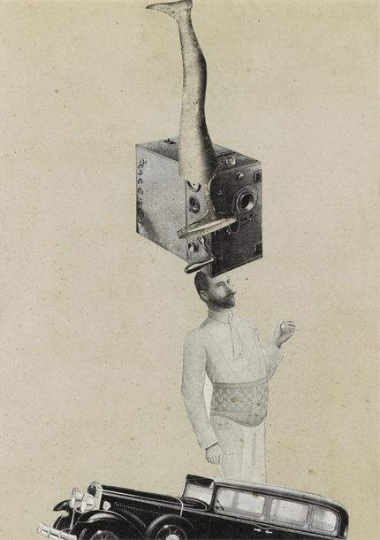 JORGE CACERES (1922-1949) DOMPTEUR SUR CAMERA, COLLAGE SURREALISTE Collage de gravure…