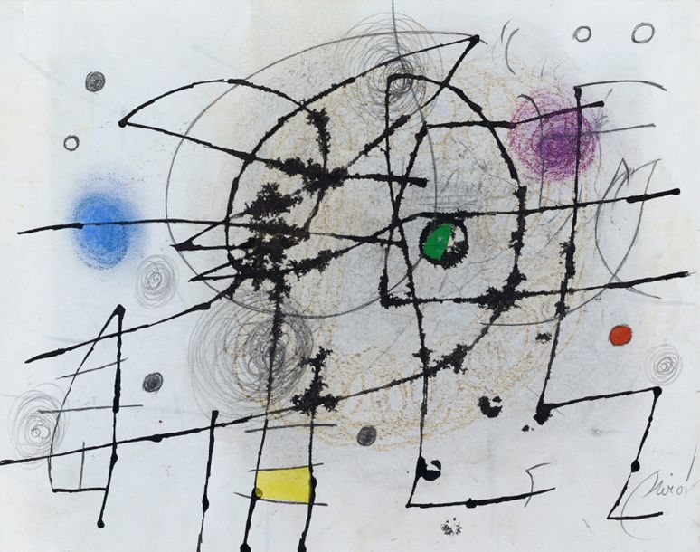 JOAN MIRO (1893-1983) * COMPOSITION, 1975 Gouache, encre de Chine, mine de plomb …