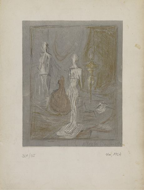 16. ALBERTO GIACOMETTI (1901-1966)  DERRIERE LE MIROIR 65, 1954  (Lust, 373)  Lithographie…