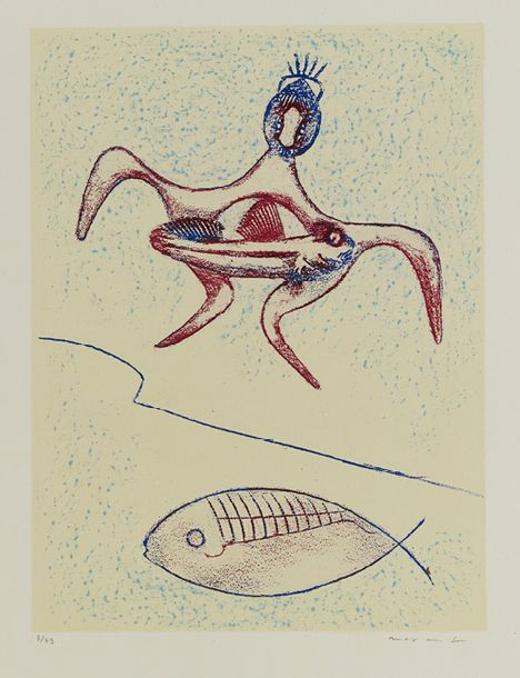 55. MAX ERNST (1891-1976)  Ensemble de 6 lithographies:  TOUT EN UN PLUS UN, 1971…