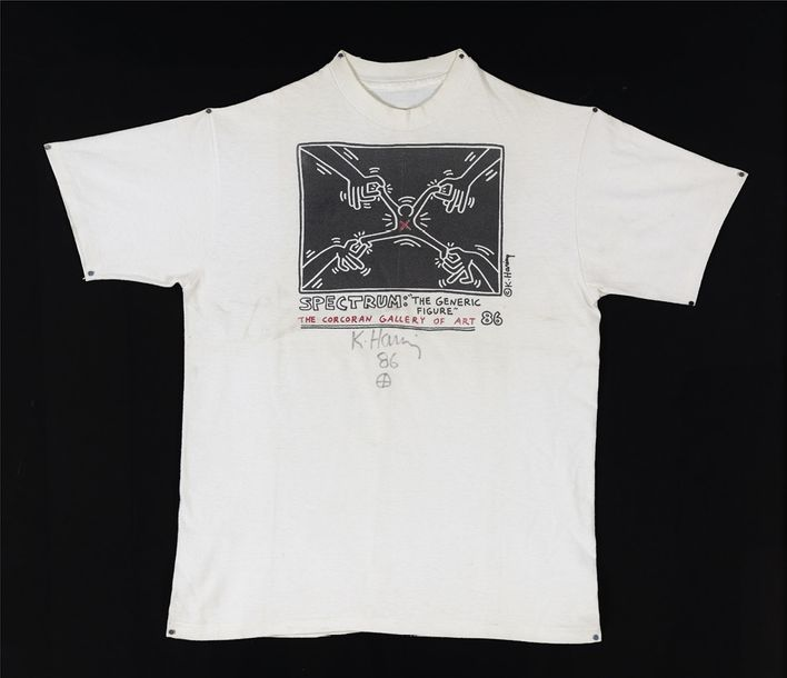 KEITH HARING SPECTRUM: THE GENERIC FIGURE, 1986 Impression sur T-Shirt Signé et daté…