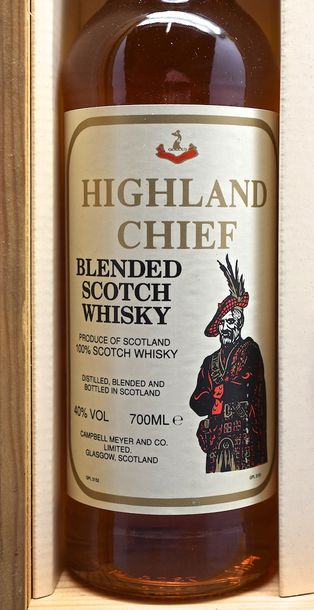 """1 bouteille SCOTCH WHISKY """"Blended"""", Highland Chief (coffret avec 3 verres)"""