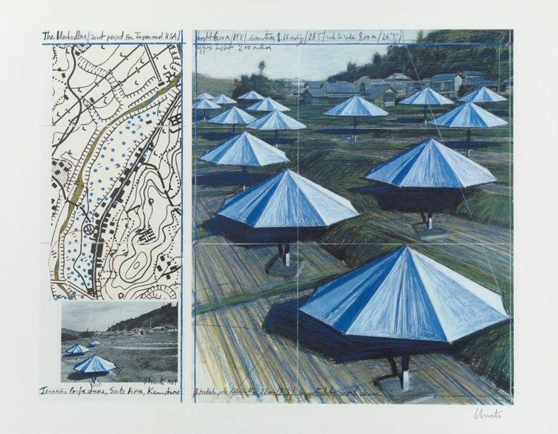 CHRISTO (NE EN 1935) THE UMBRELLAS JOINT PROJECT FOR JAPAN AND USA, 1989 Offset lithographique…