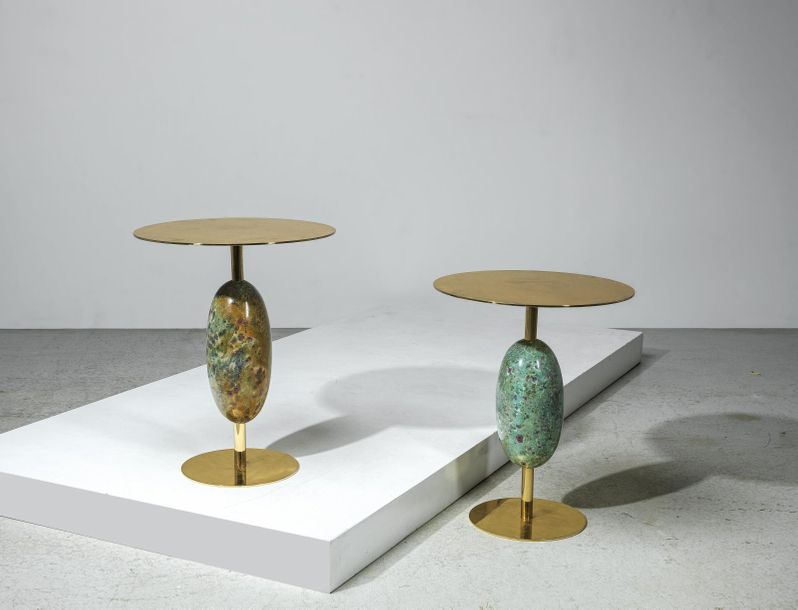 "Studio SuperegoTwo Unique Side Tables Mod. ""Stone Age"", designed and manufacture…"