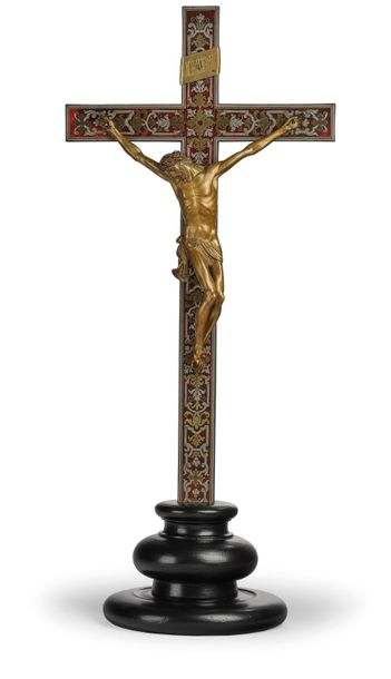 A Free Standing Crucifix with Corpus Christi, wood, tortoiseshell with pewter an…