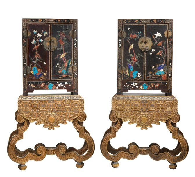 A Pair of Lacquer Cabinets on Gilt Wood Stands, China, 18th century, the stands …