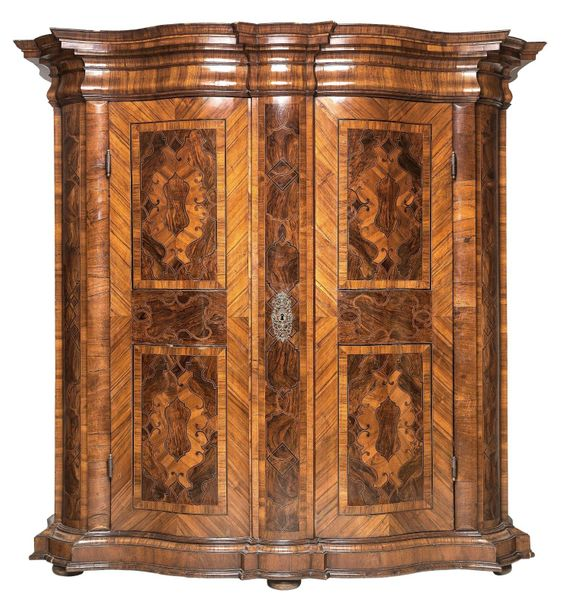 A Baroque Half Height Cabinet superbly executed, Austria c. 1730/40, spruce, wit…