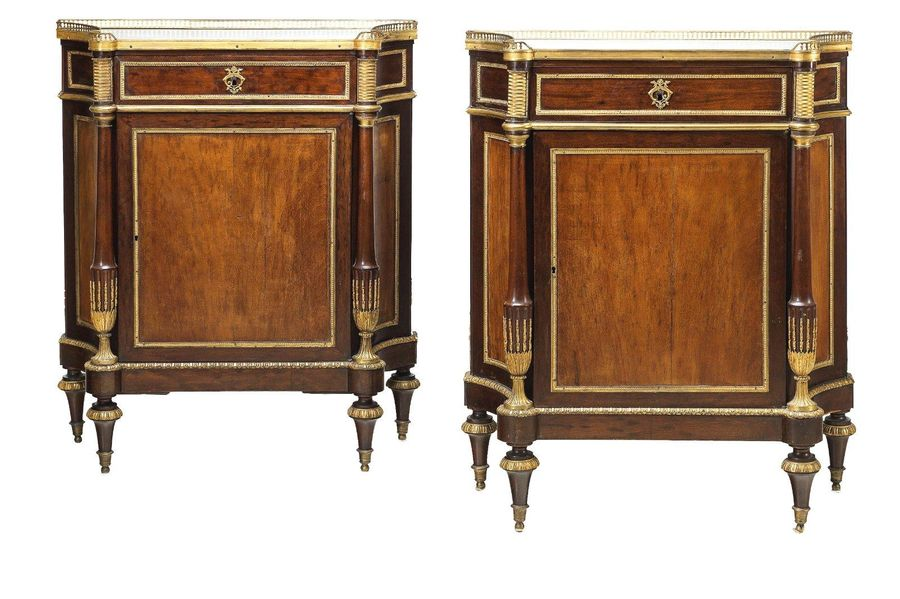 A Pair of Salon Cabinets, France, c. 1790, oak structures with mahogany veneer, …