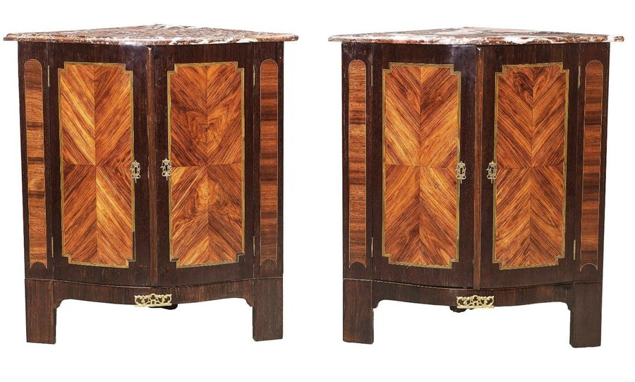 A Pair of French Salon Corner Cabinets, second half of the 18th century, oak and…