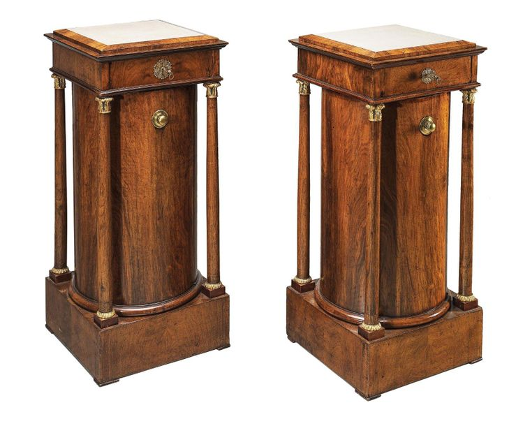 A Pair of Unusual Biedermeier Cylinder Cabinets c. 1825/30, freestanding spruce …