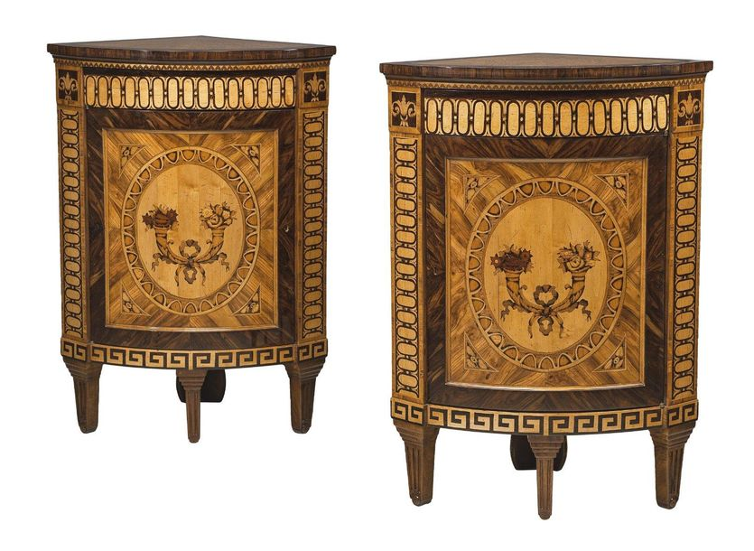 A Pair of Corner Cabinets, in Italian Louis XVI style, c. 1900, hardwood frames,…