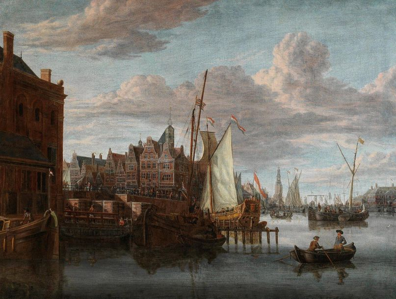 Jacobus Storck (Amsterdam 1641–1687) The old port in Amsterdam with the Nieuwe B…
